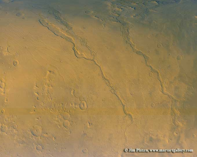 Dao, Niger, and Harmakhis Vallis of Mars